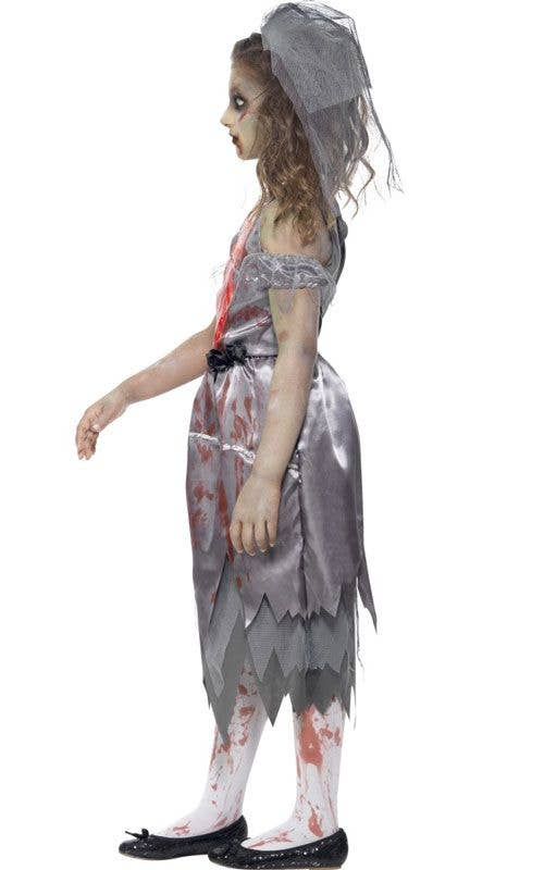 Corpse Bride Girlu0027s Zombie Dress Up Costume Side  sc 1 st  Heaven Costumes & Dead Bride Girls Costume | Zombie Bride Kids Halloween Costume