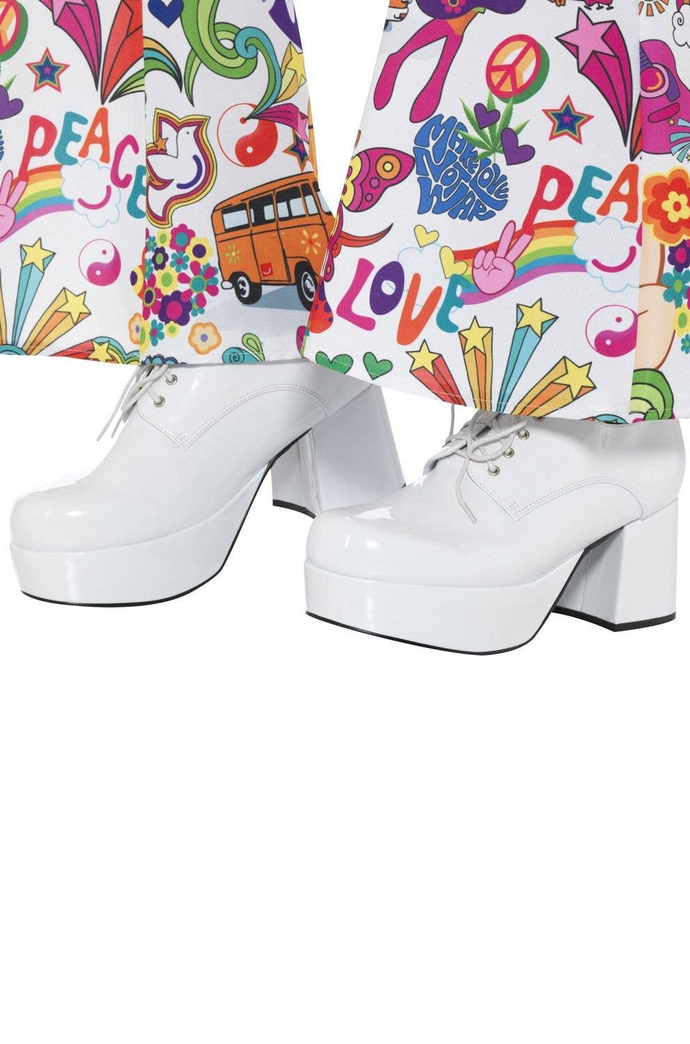a527026bb4a1b Men's White 70's Disco Shoes | Retro Men's 1970's Platform Shoes