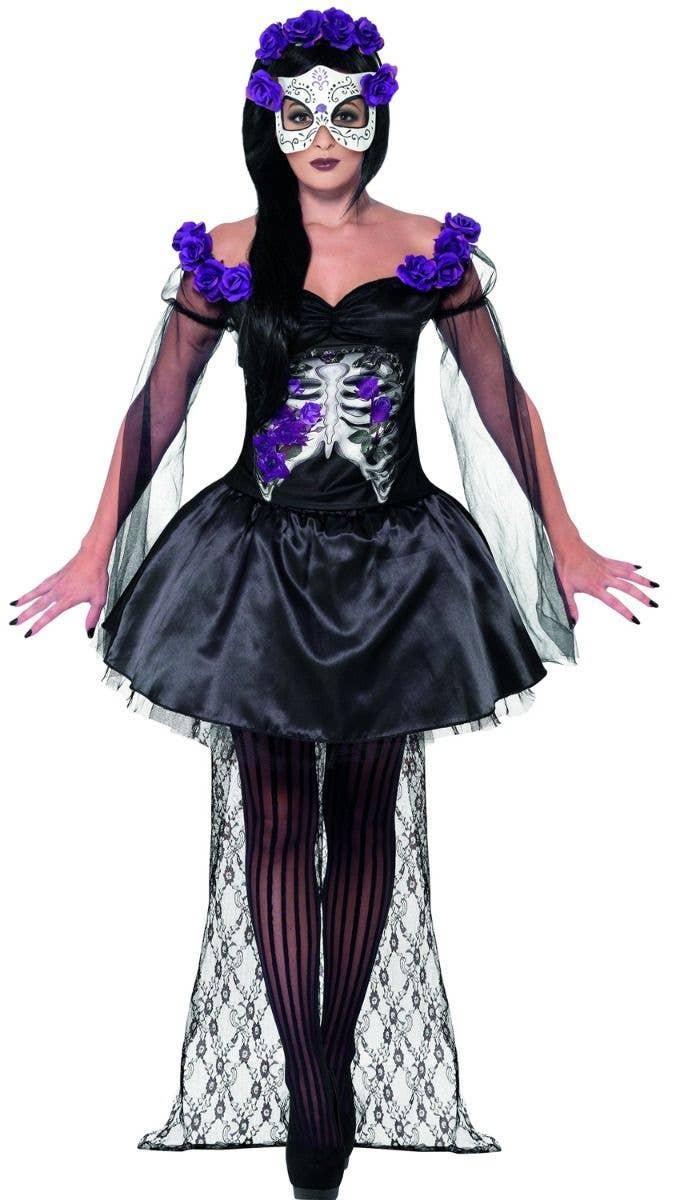 women's purple and black day of the dead senorita costume   halloween