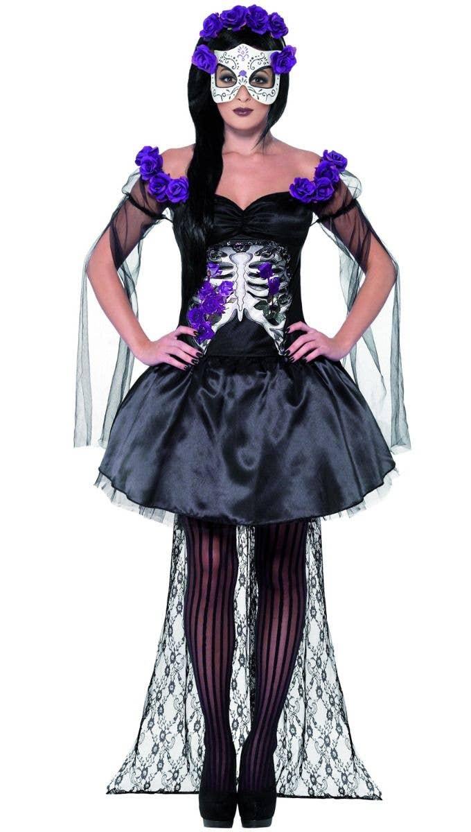 women's purple and black day of the dead senorita costume | halloween