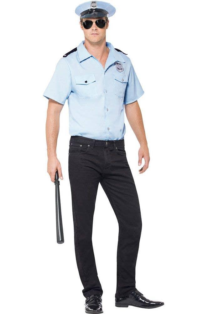 e84f8dea90 Classic Men s Blue Police Officer Fancy Dress Costume Front