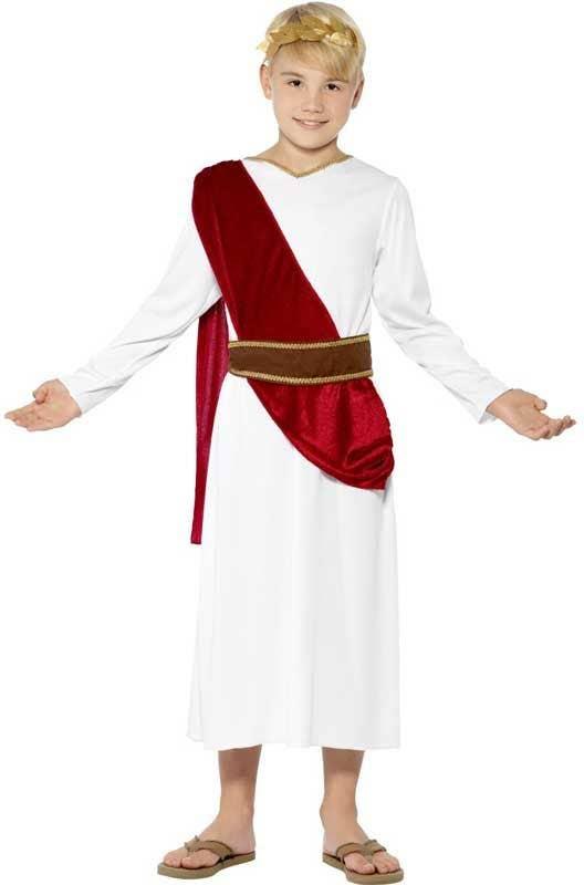 Julius Caesar Boys Costume | Roman Toga Boys Fancy Dress Costume