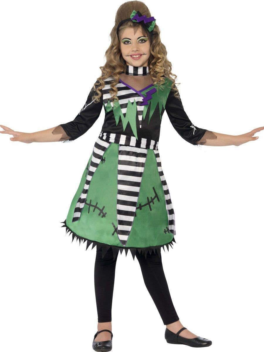 girls frankenstein green monster costume front view