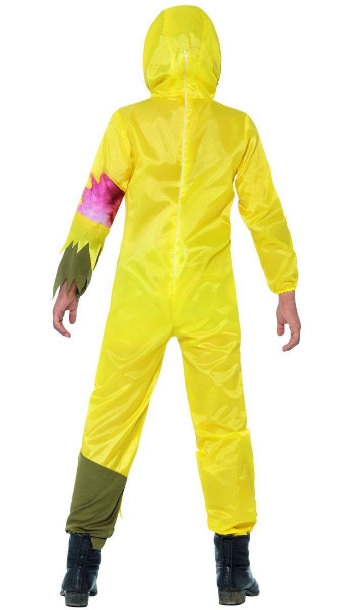 Boys Yellow Toxic Waste Zombie Hazmat Suit Halloween Costume Back Image 9bab2b4e4