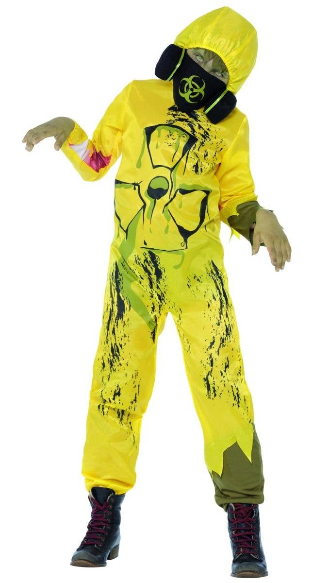 Toxic Waste Yellow Hazmat Suit Boys Halloween Costume