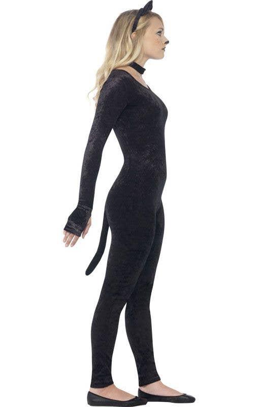 Girlu0027s Teenage Black Cat Animal Costume Catsuit Side  sc 1 st  Heaven Costumes & Catsuit Teen Girls Costume | Girls Black Cat Halloween Costume