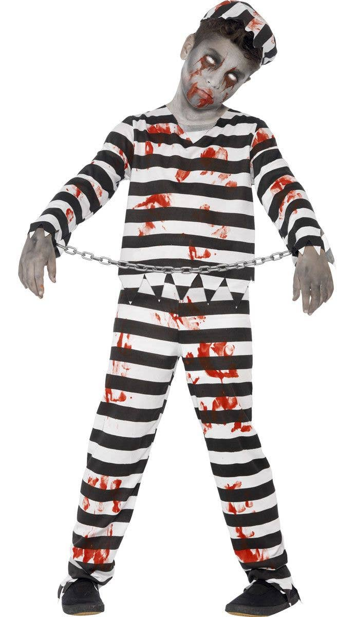 boys zombie convict prisoner costume | kid's halloween costumes