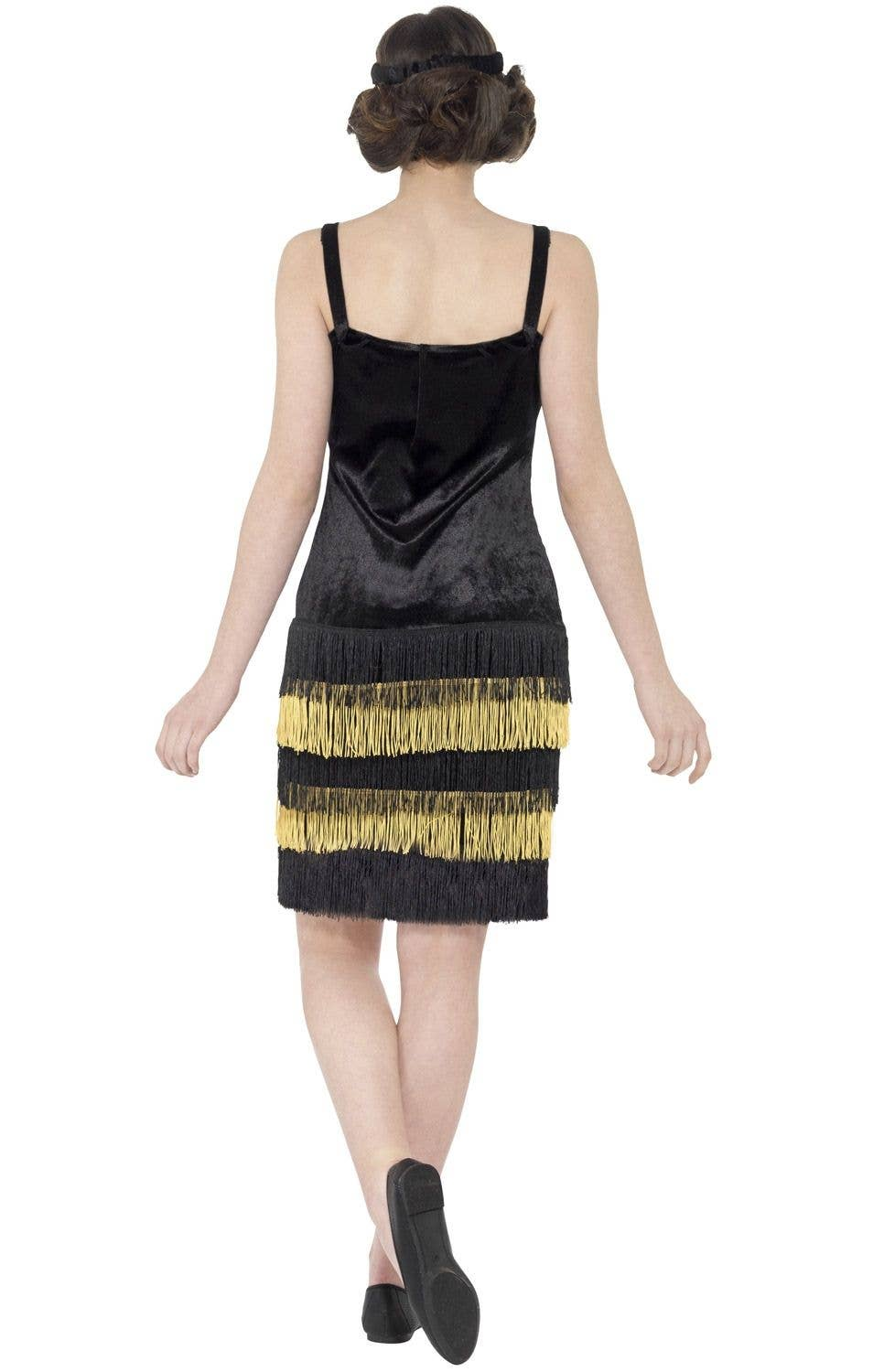 3be16b97476bf Black and Gold Teen Girls 1920's Great Gatsby Flapper Costume Image 3