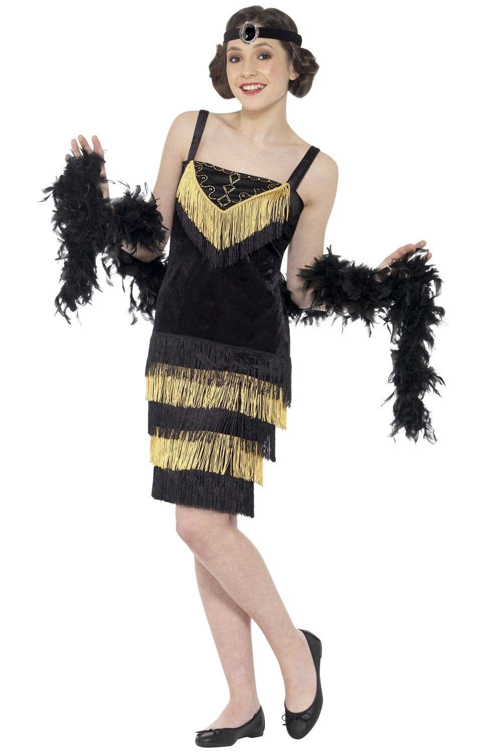 b64f5e7ce7 Gatsby Flapper Girl Black and Gold 1920's Teen Costume
