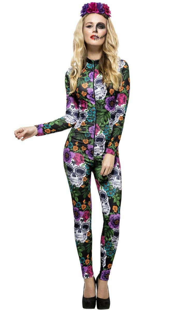 cf10c006f28 Women s Coloured Sugar Skull Coloured Flower Day Of The Dead Halloween  Jumpsuit Fancy Dress Costume Main