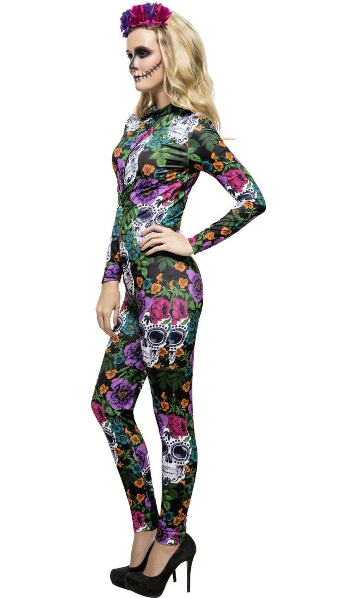 5284bb15a8c Women s Coloured Sugar Skull Coloured Flower Day Of The Dead Halloween  Jumpsuit Fancy Dress Costume Side