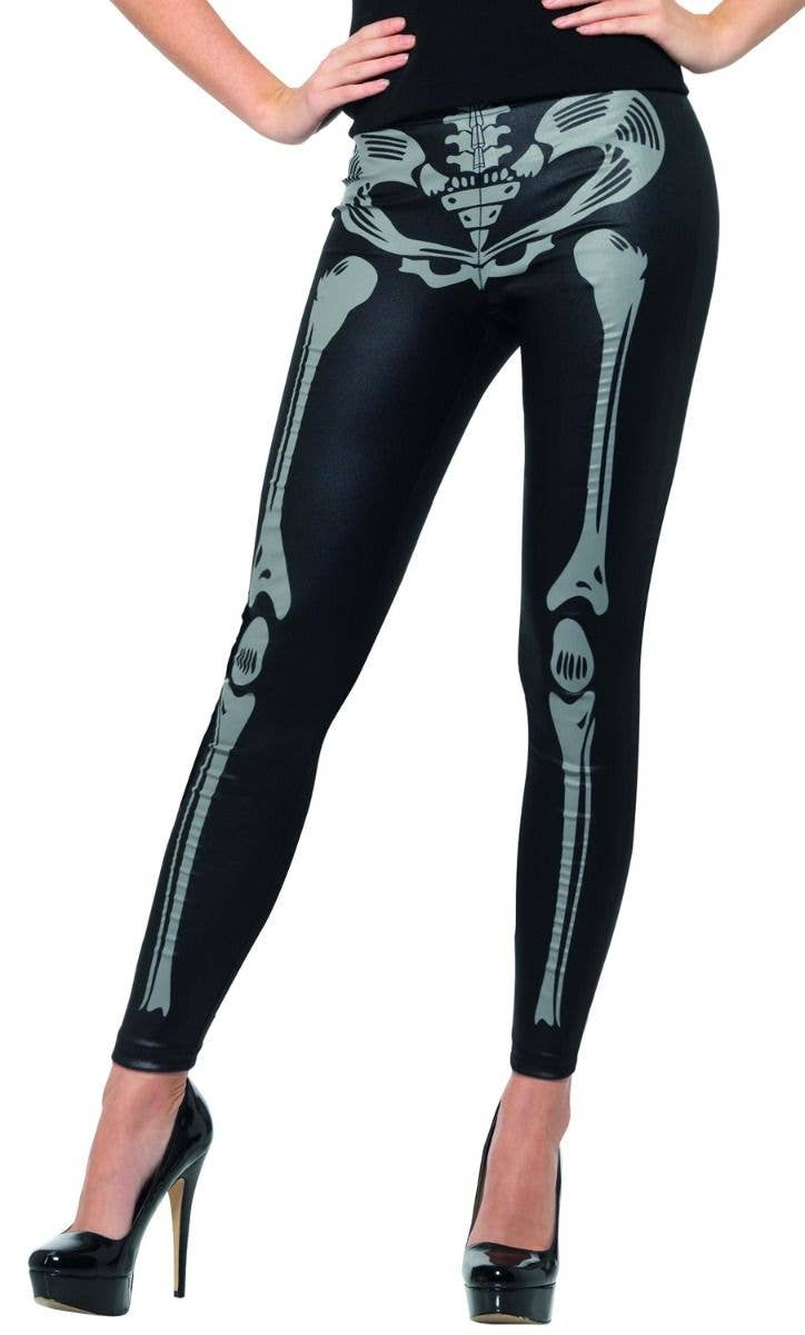 skeleton print women's leggings | black wet look skeleton tights