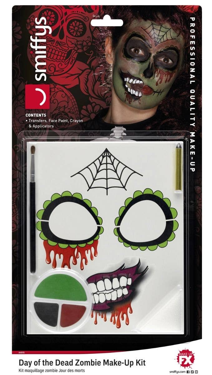 7cb27cbf5bd5 smiffys zombie sugar skull day of the dead halloween makeup kit - image one