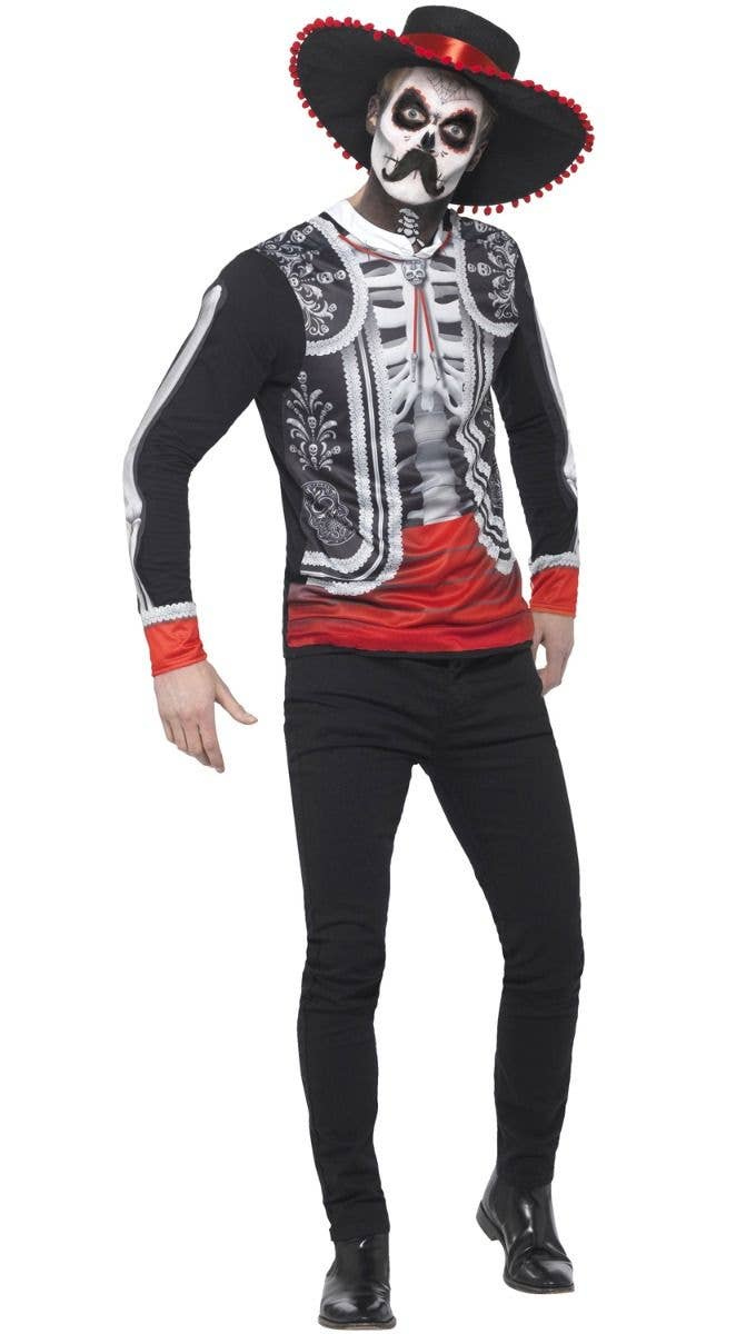 1ed3706ce2b3 Men's Black Red And White Halloween Skeleton Mariachi Day Of The Dead Fancy  Dress Costume Top