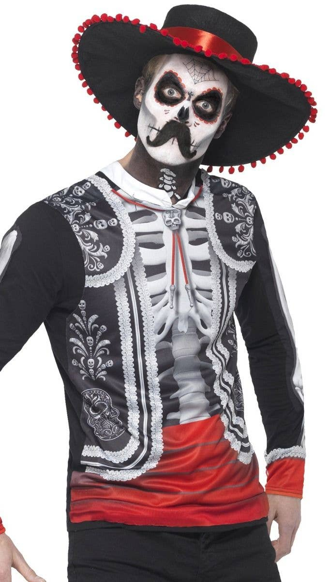 halloween men's black and white skeleton top   day of the dead men's