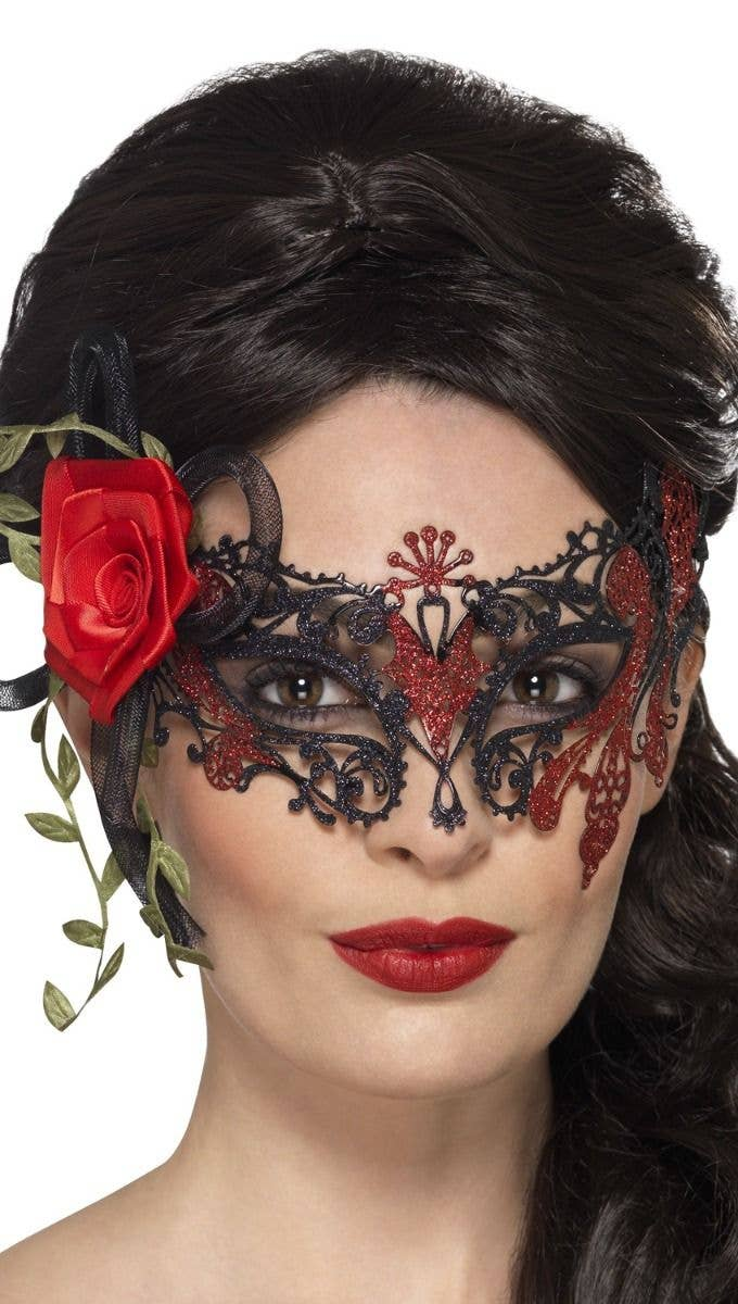 9a84cbf94ba84 Women's Metal Black Lace Rose Mask | Black Lace Filigree Day of the ...
