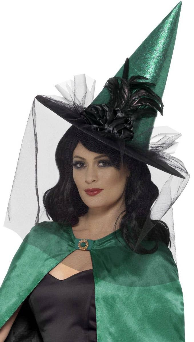5ec0a60fd65 Elaborate Emerald Green Halloween Witch Hat