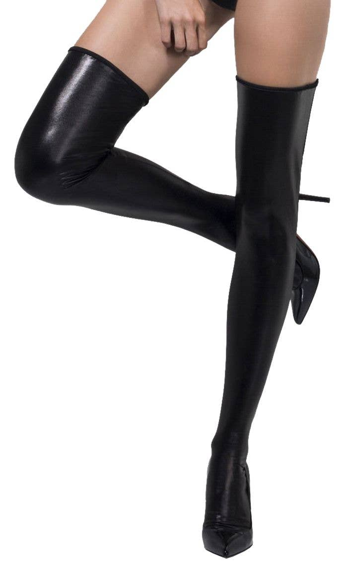 266a544fe Black Wet Look Thigh High Halloween Stockings Main Image