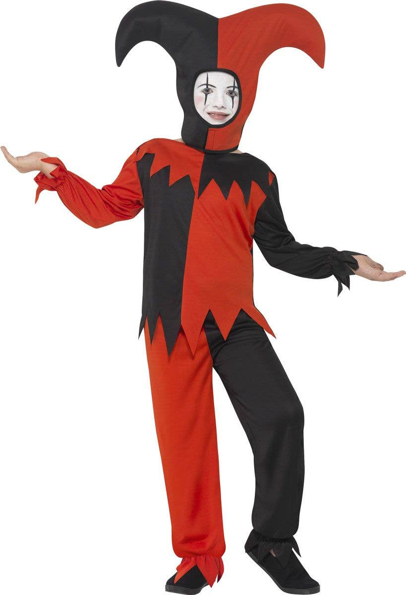 boys red and black evil jester costume | kid's halloween costumes