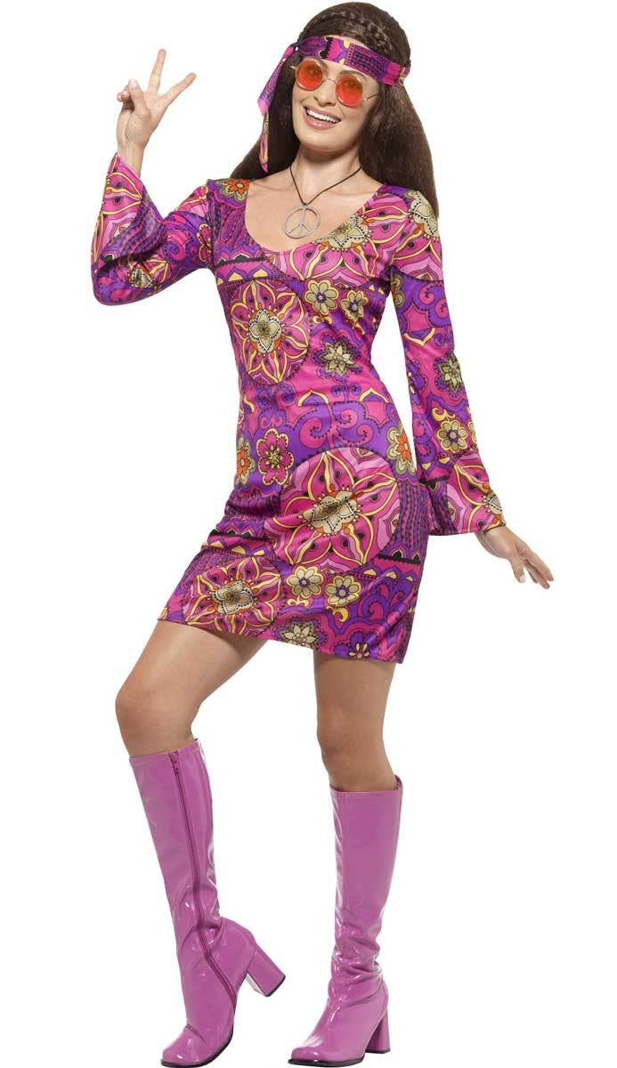 Women s Pink and Purple Hippie Costume Dress Front View 237e469bad