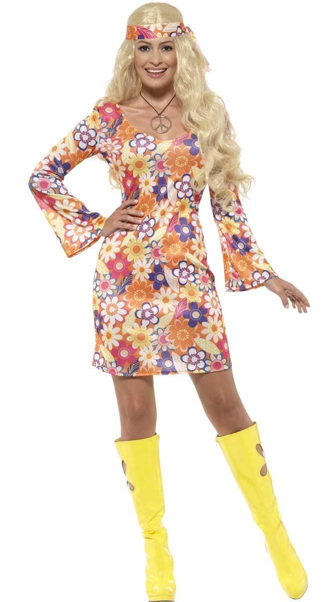 c0486da53ca Women s Flower Hippie Fancy Dress Costume Front View