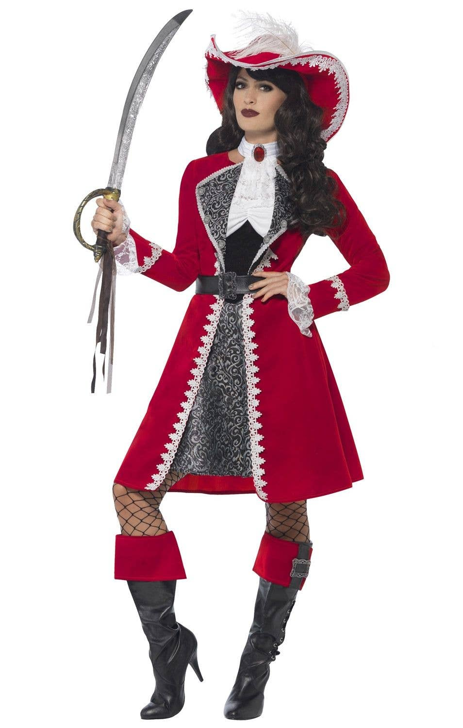 Sexy Pirate Captain Lady Deluxe Womenu0027s Costume Main Image  sc 1 st  Heaven Costumes & Pirate Lady Captain Costume | Authentic Womenu0027s Pirate Lady Costume