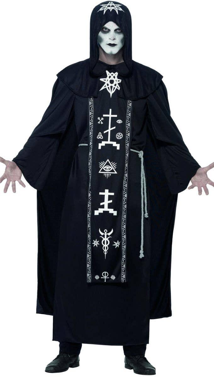 dark arts ritual adults unisex black hooded robe with white demonic printed details halloween fancy dress