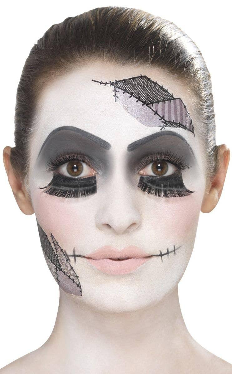 Women's Damaged Broken Doll Halloween Makeup And Tattoo Accessory Kit Main Image
