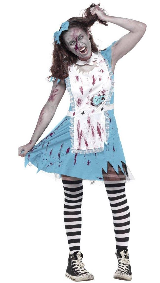 teen girls zombie alice in wonderland twisted fairytale fancy dress halloween costume alternative image