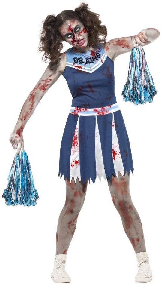 smiffys teen girls high school cheerleader zombie blood splattered halloween fancy dress costume main image