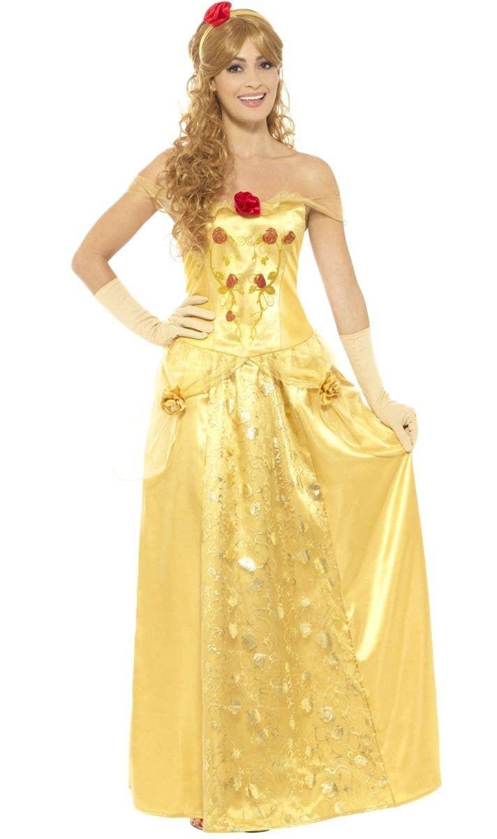 Women s Golden Princess Belle Beauty and the Beast Costume Front Image 34677de02028