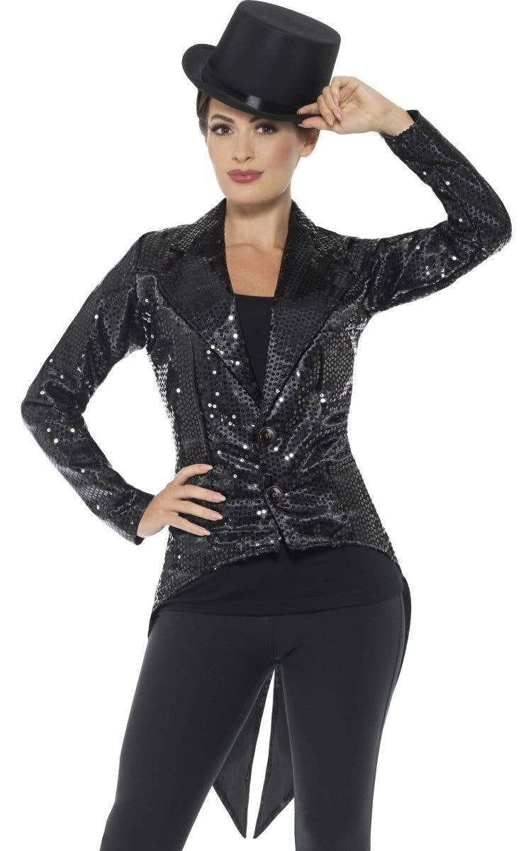 23dfb3e5ed7 Black Sequin Tail Coat Women s Cabaret Showgirl Ringmaster Fancy Dress  Costume Jacket Main Image