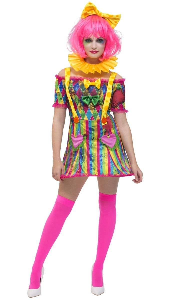 b1200e39a756e Patchwork Clown Women's Fancy Dress Costume