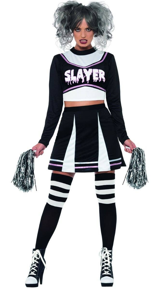 2a69ce5a75 Women's Sexy Gothic Slayer Halloween Cheerleader Costume Front Image