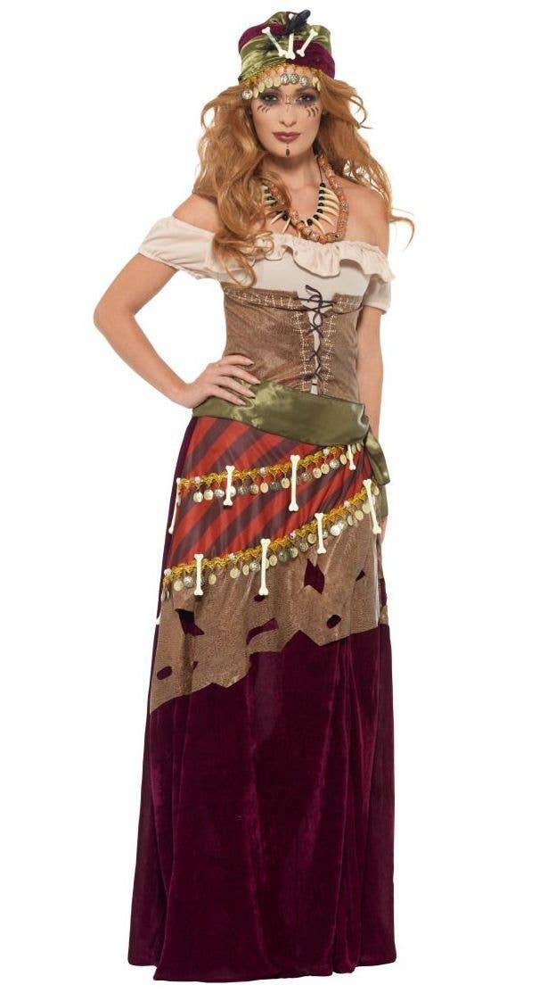 Great Deluxe Voodoo Priestess Fortune Teller Halloween Costume Front