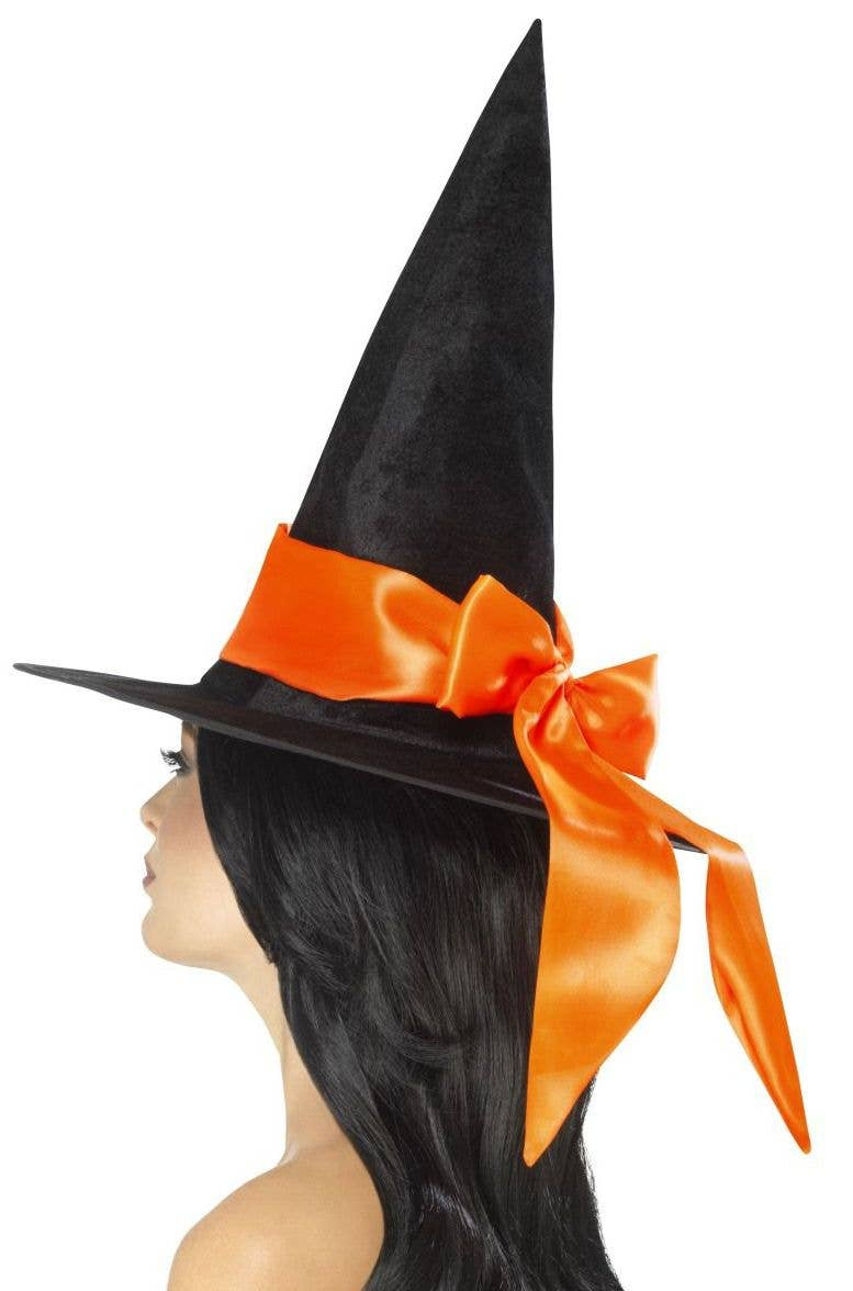 d2e14726678 Women s Black Velvet And Orange Satin Witches Hat Halloween Costume  Accessory Main Image