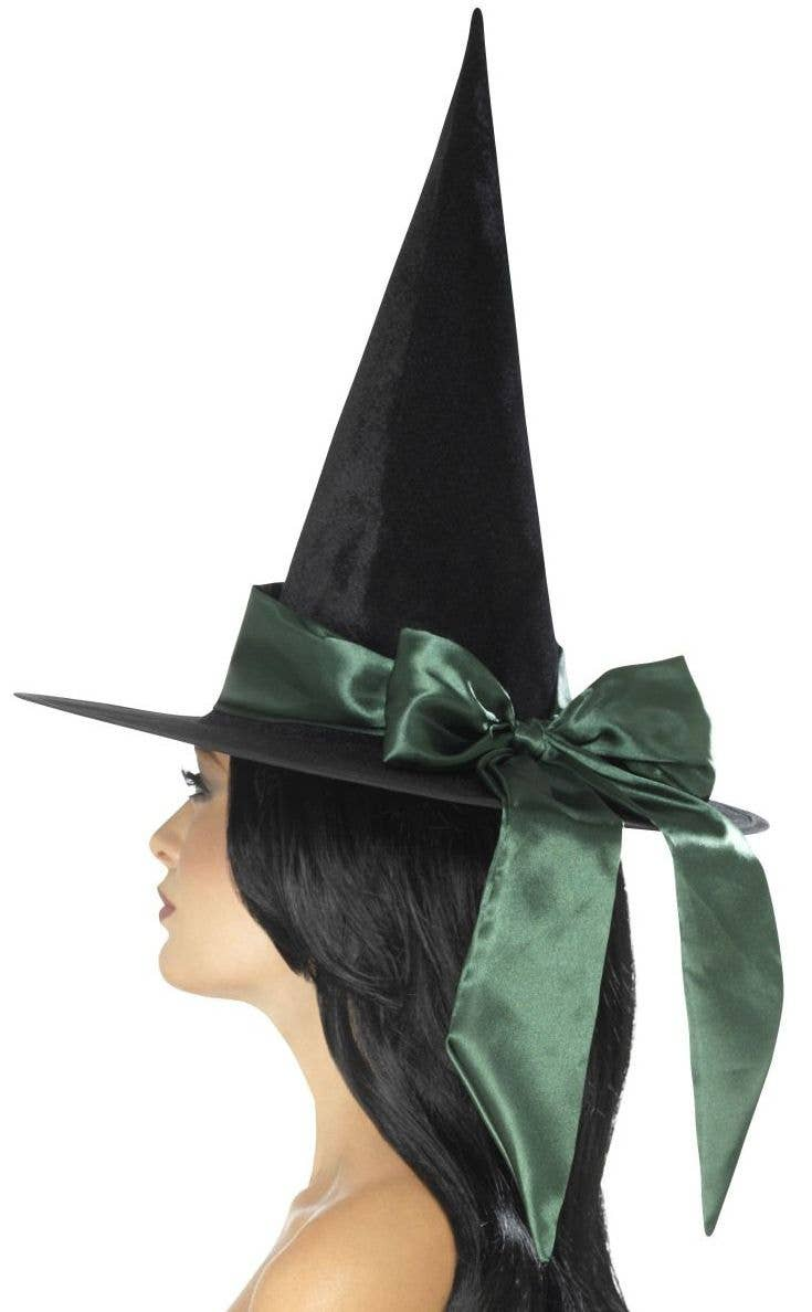 a194b1950e5 Women s Deluxe Black Velvet Witch Hat with Cute Green Satin Bow Main Image