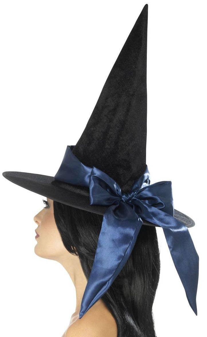 Franco Black Satin Halloween Adult Witch Hat