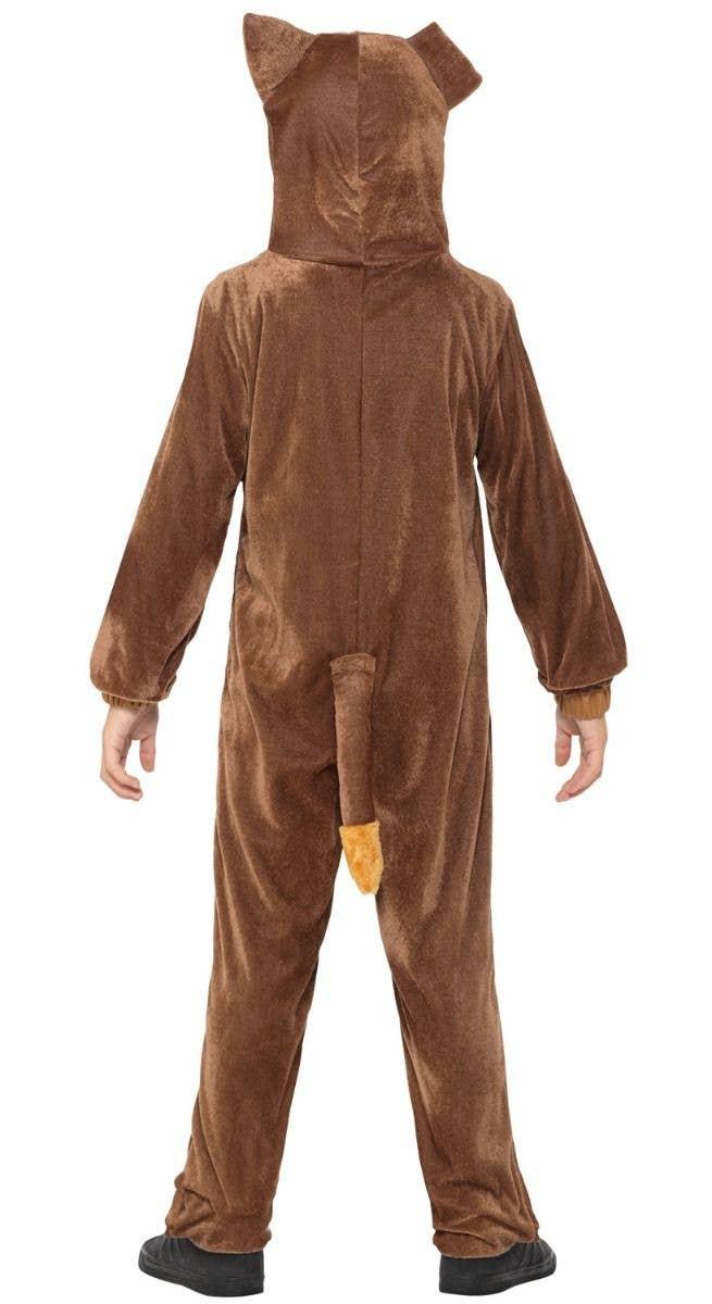 f6d1c3815317 Boys or Girls Plush Brown Dog Animal Onesie Costume Back Image