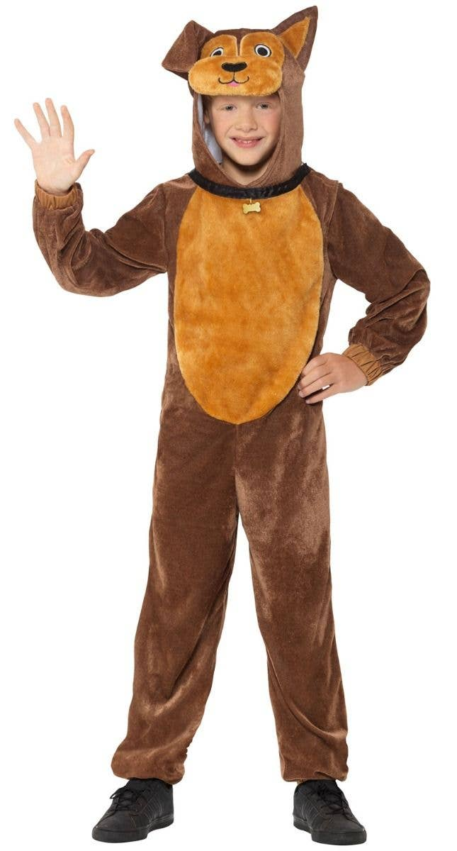 ccc316b2fb89 Boys or Girls Plush Brown Dog Animal Onesie Costume Front Image