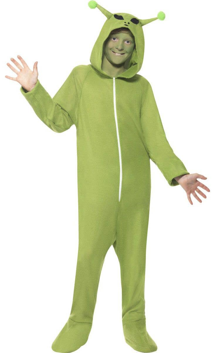 kids alien halloween costume | boys onesie green alien costume