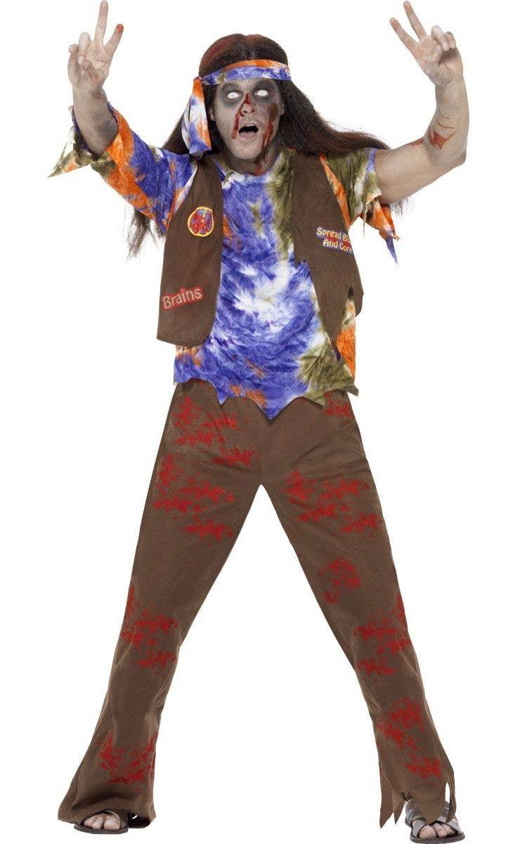 hippie halloween zombie costume   1970's hippie zombie men's costume