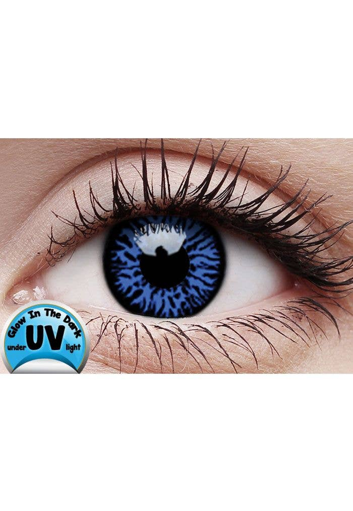 Blue UV Reactive Contact Lenses | Glow Drax Blue Coloured ...