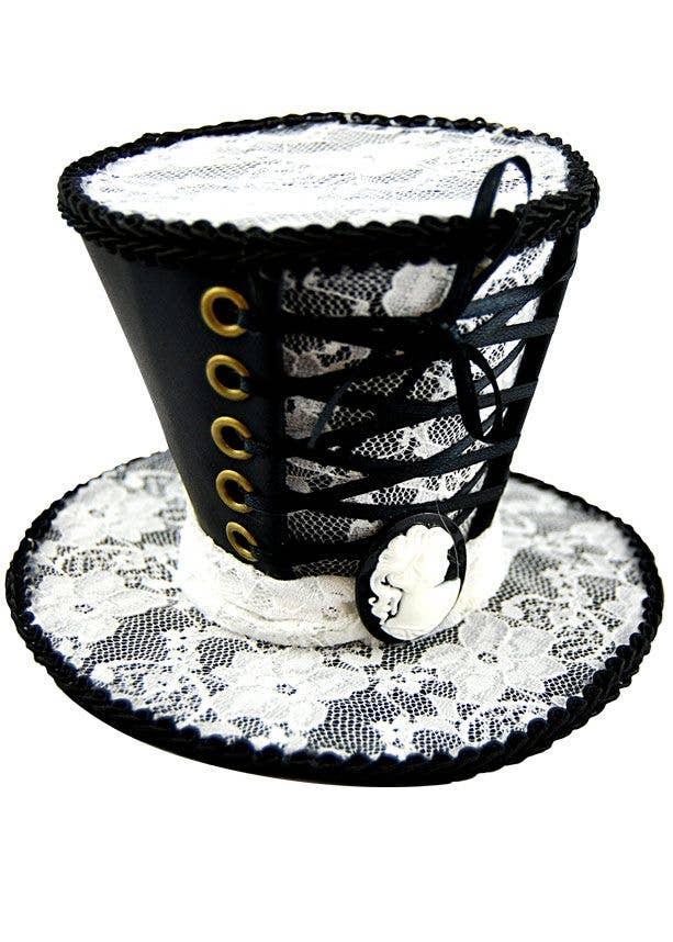 3e4e2b2e Gothic Mini Top Hat | Black and White Lace Mini Top Hat Accessory