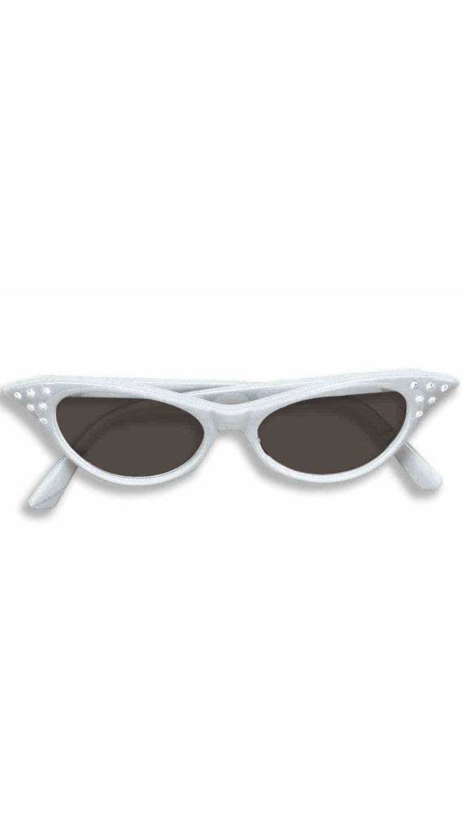 88254df391 Women s White 50 s Rock And Roll Black Lens Diamonte Rhinestone Costume  Glasses Main Image
