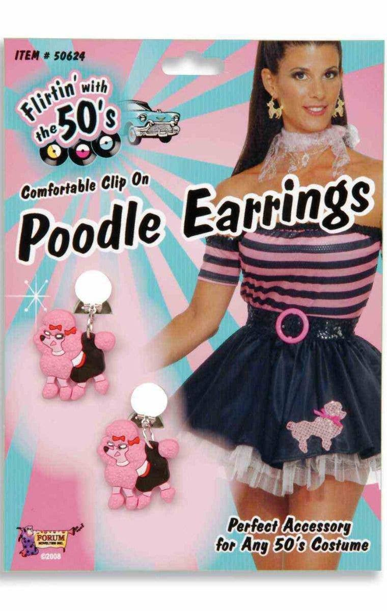 618ffab2b800 Clip On Retro 50's Poodle Earrings | 1950's Poodle Costume Accessory