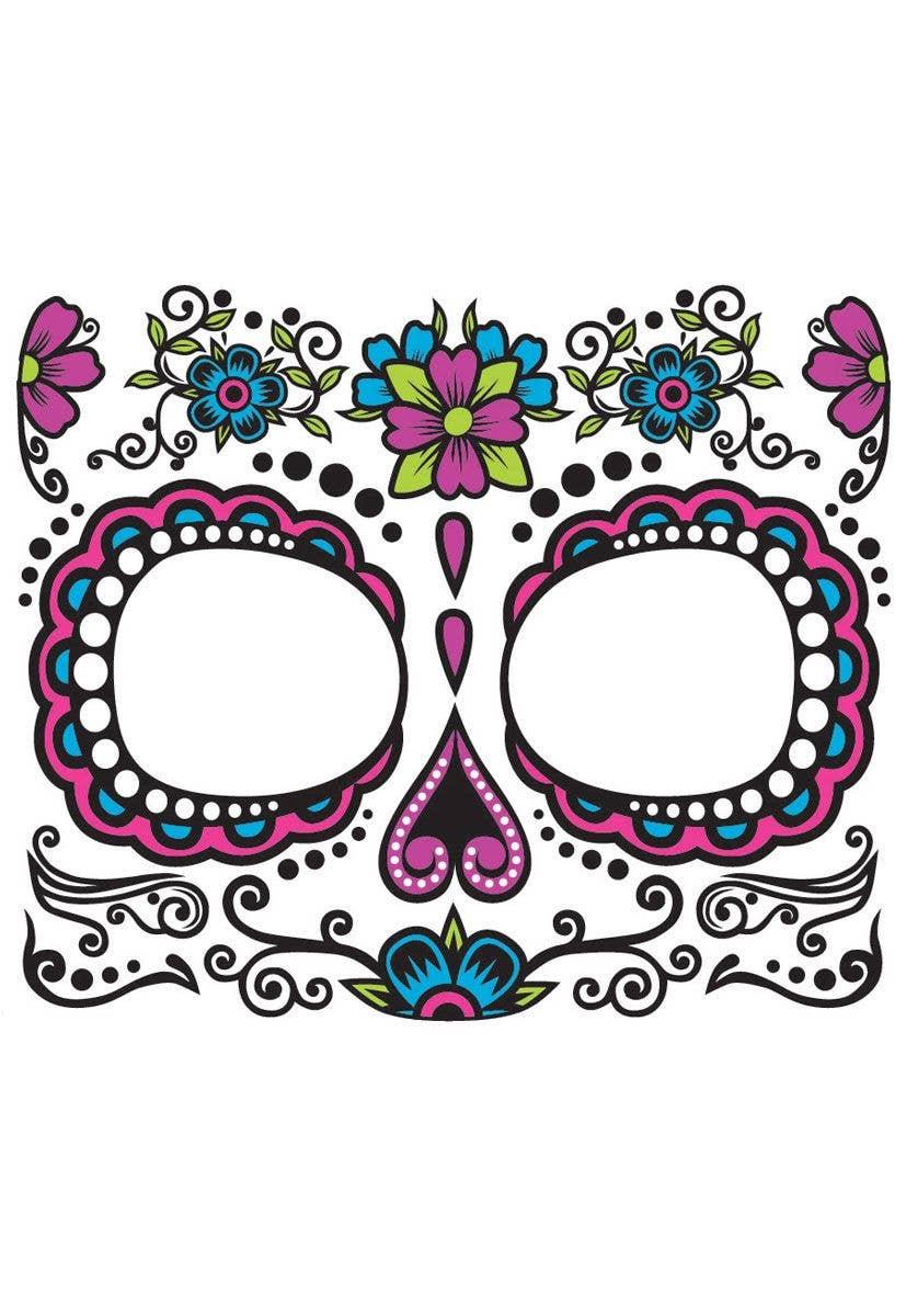 b93ea152b Pink Sugar Skull Face Makeup   Mexican Temporary Fake Face Tattoo