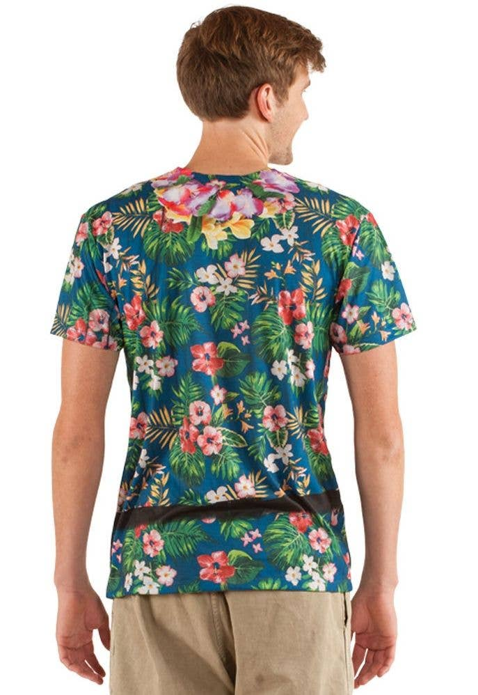 bb4bb9077 Men's Faux Real Tropical Tourist Printed Costume T-Shirt Back View