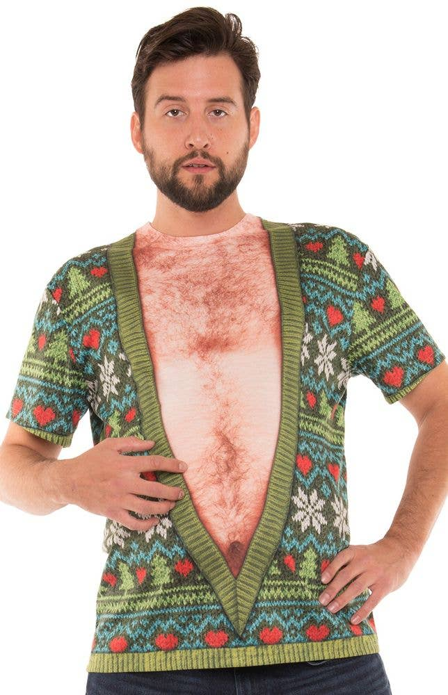 ac6f4f481 Men-s Faux Real Printed Deep V Hairy Chest Ugly Christmas Sweater Costume  Shirt -