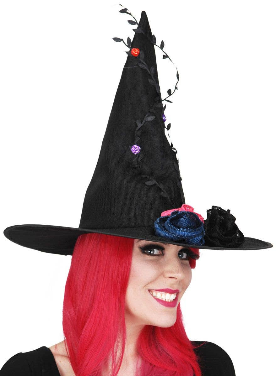 Black Vintage Witch Hat Deluxe Black Witch Hat With Flowers